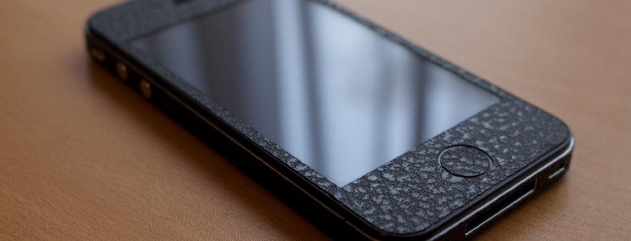 Edler 3D iPhone Aufkleber - Leder schwarz