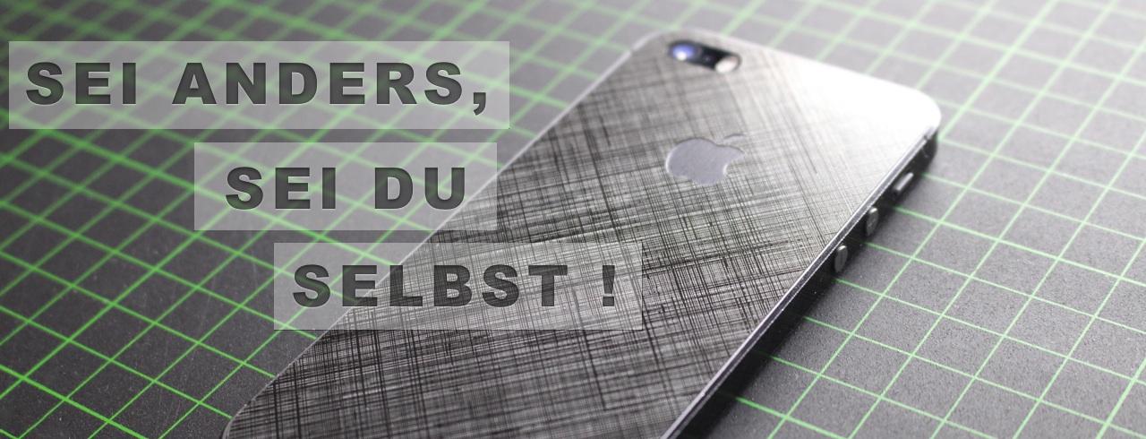 Edler iPhone Aufkleber 3D - Schraffur - schwarz - Vollverklebung