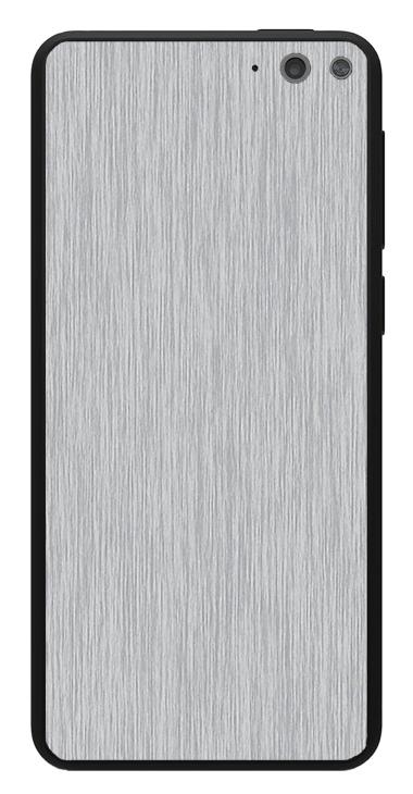 Amazon Fire Phone 3D Aufkleber / Sticker für Rückseite - Gebürsteter Stahl - silber