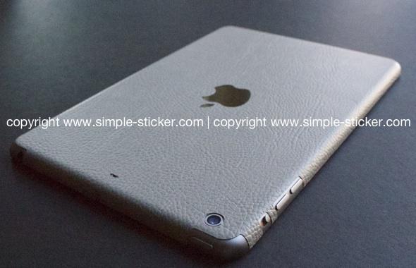 iPad Aufkleber / Sticker mit 3D Struktur. Nur Rückseite. Geeignet für iPad mini (Retina) Wi-Fi - Leder. Grau