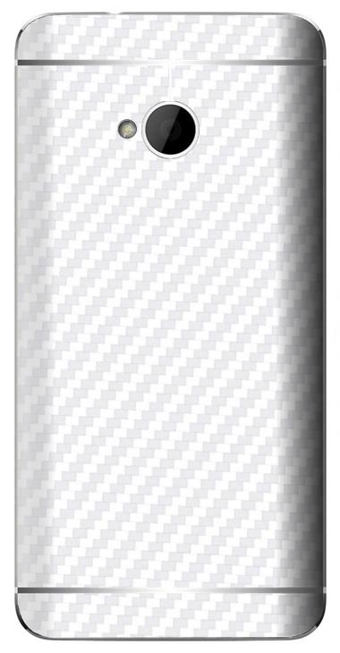 HTC One M7 3D Aufkleber / Sticker für Rückseite - Carbon weiß