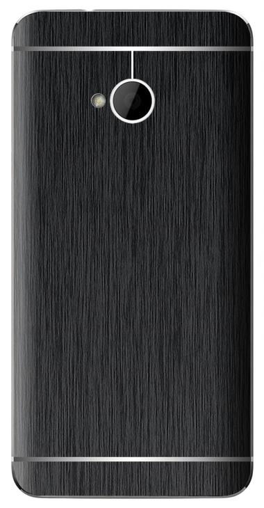 HTC One M7 3D Aufkleber / Sticker für Rückseite - Gebürsteter Stahl - schwarz
