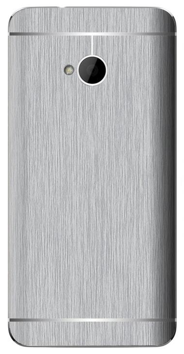 HTC One M7 3D Aufkleber / Sticker für Rückseite - Gebürsteter Stahl - silber