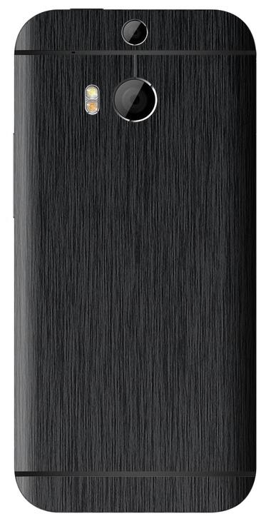 HTC One M8 3D Aufkleber / Sticker für Rückseite - Gebürsteter Stahl - schwarz