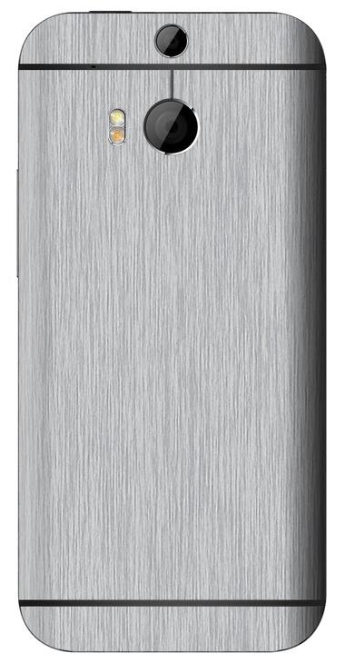 HTC One M8 3D Aufkleber / Sticker für Rückseite - Gebürsteter Stahl - silber