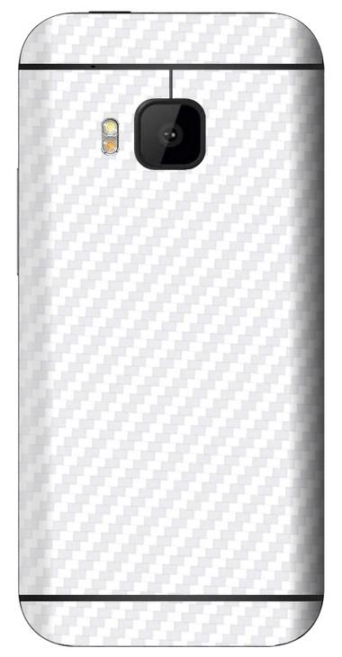 HTC One M9 3D Aufkleber / Sticker für Rückseite - Carbon weiß