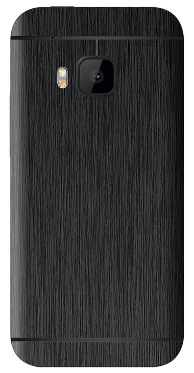 HTC One M9 3D Aufkleber / Sticker für Rückseite - Gebürsteter Stahl - schwarz