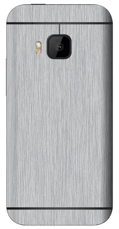 HTC One M9 3D Aufkleber / Sticker für Rückseite - Gebürsteter Stahl - silber
