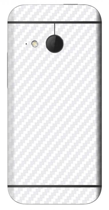 HTC One Mini 2 3D Aufkleber / Sticker für Rückseite - Carbon weiß