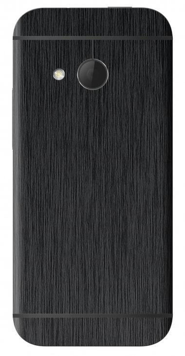 HTC One Mini 2 3D Aufkleber / Sticker für Rückseite - Gebürsteter Stahl - schwarz