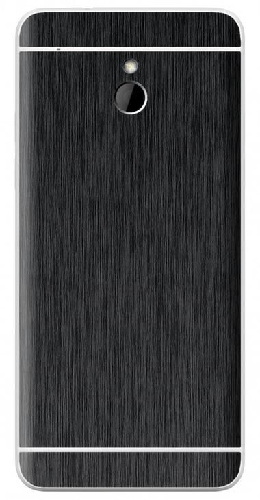 HTC One Mini 3D Aufkleber / Sticker für Rückseite - Gebürsteter Stahl - schwarz