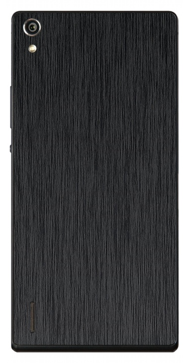 Huawei Ascend P7 3D Aufkleber / Sticker für Rückseite - Gebürsteter Stahl - schwarz