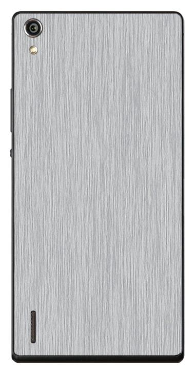 Huawei Ascend P7 3D Aufkleber / Sticker für Rückseite - Gebürsteter Stahl - silber
