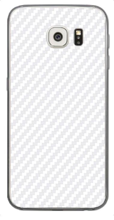 Samsung Galaxy S6 3D Aufkleber / Sticker für Rückseite - Carbon weiß