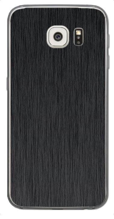 Samsung Galaxy S6 3D Aufkleber / Sticker für Rückseite - Gebürsteter Stahl - schwarz