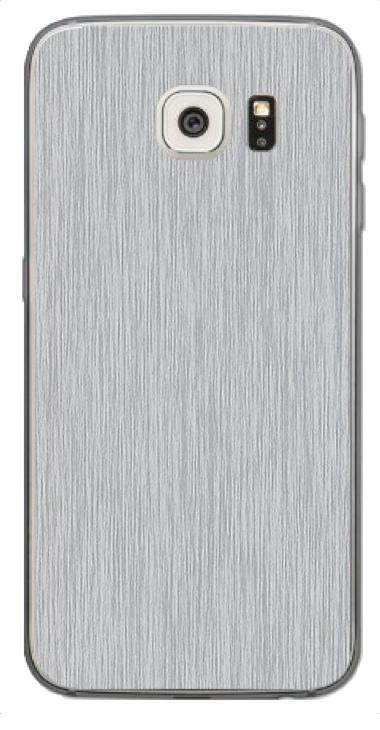 Samsung Galaxy S6 3D Aufkleber / Sticker für Rückseite - Gebürsteter Stahl - silber