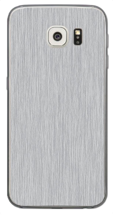 Samsung Galaxy S6 Edge 3D Aufkleber / Sticker für Rückseite - Gebürsteter Stahl - silber