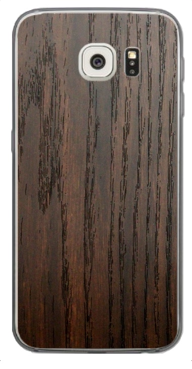 Samsung Galaxy S6 Edge 3D Aufkleber / Sticker für Rückseite - Holz braun