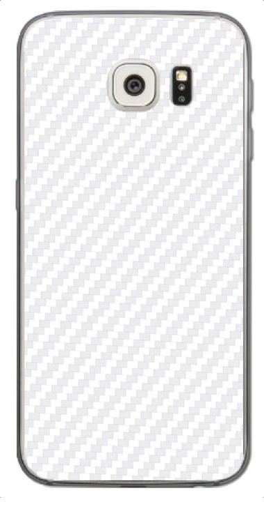 Samsung Galaxy S6 Edge 3D Aufkleber / Sticker für Rückseite - Carbon weiß