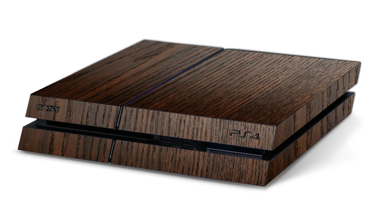 ps4 playstation 4 3d aufkleber sticker 3d holz braun. Black Bedroom Furniture Sets. Home Design Ideas