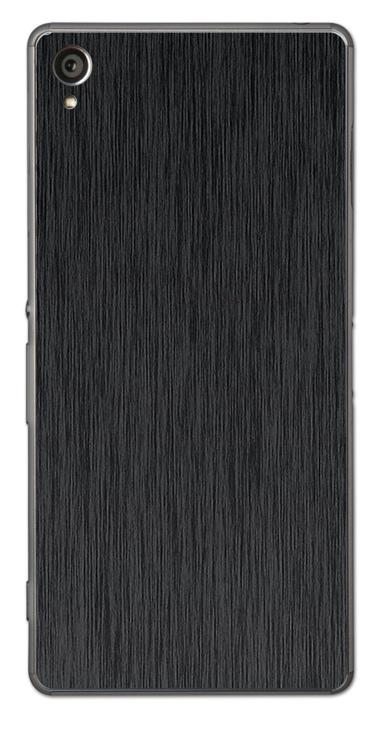 Sony Xperia Z1 3D Aufkleber / Sticker für Rückseite - Gebürsteter Stahl - schwarz