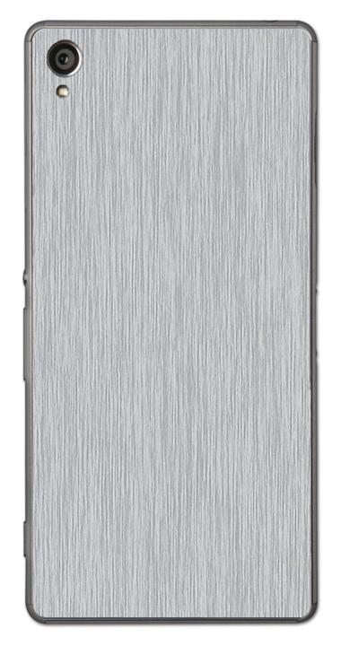 Sony Xperia Z1 3D Aufkleber / Sticker für Rückseite - Gebürsteter Stahl - silber