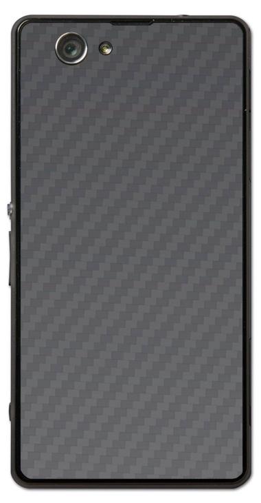 Sony Xperia Z1 Compact 3D Aufkleber / Sticker für Rückseite - Carbon grau