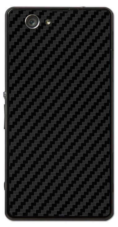 Sony Xperia Z1 Compact 3D Aufkleber / Sticker für Rückseite - Carbon schwarz