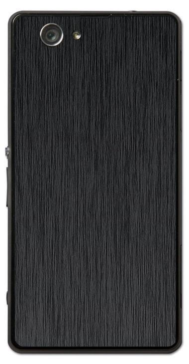 Sony Xperia Z1 Compact 3D Aufkleber / Sticker für Rückseite - Gebürsteter Stahl - schwarz
