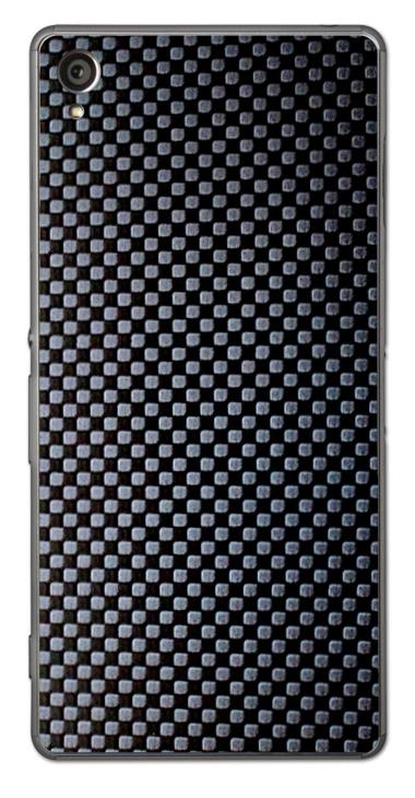 Sony Xperia Z3 3D Aufkleber / Sticker für Rückseite - Carbon schwarz - Chessboard