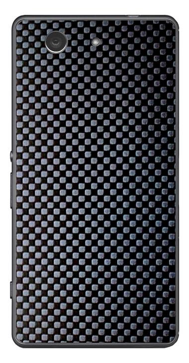 Sony Xperia Z3 Compact 3D Aufkleber / Sticker für Rückseite - Carbon schwarz - Chessboard