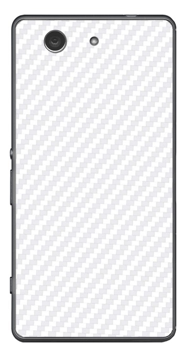 Sony Xperia Z3 Compact 3D Aufkleber / Sticker für Rückseite - Carbon weiß