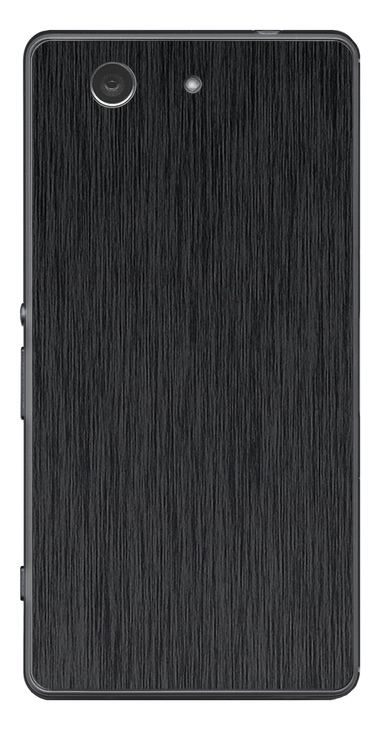Sony Xperia Z3 Compact 3D Aufkleber / Sticker für Rückseite - Gebürsteter Stahl - schwarz
