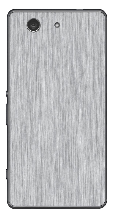 Sony Xperia Z3 Compact 3D Aufkleber / Sticker für Rückseite - Gebürsteter Stahl - silber