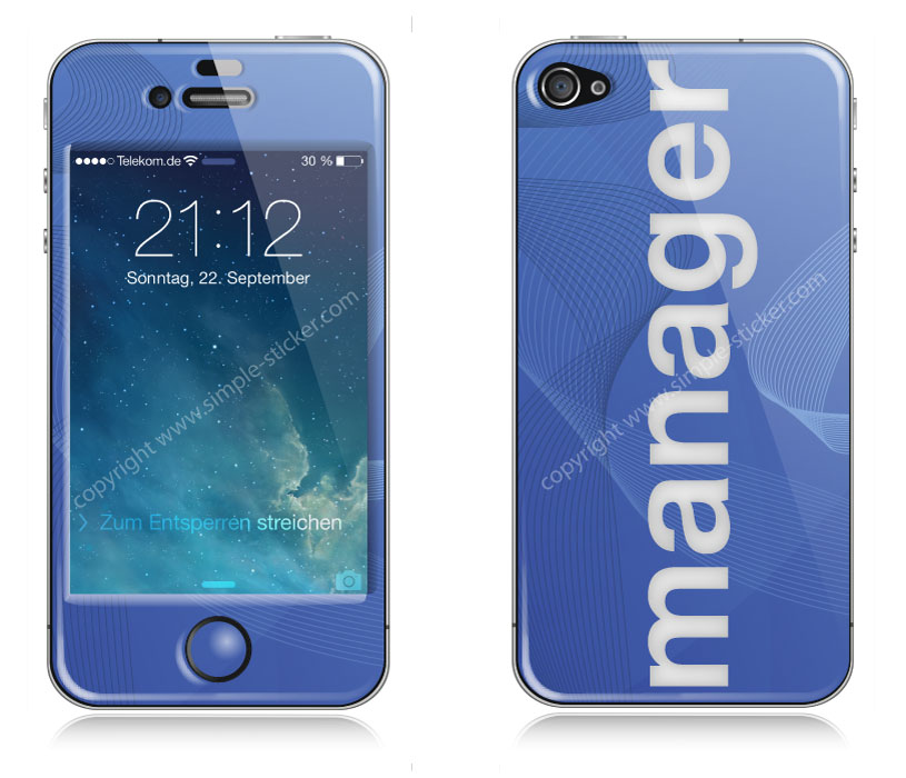 iPhone Aufkleber / Sticker 3D für iPhone 4/4S - Manager