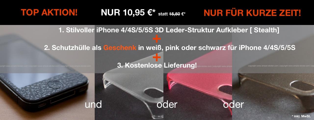 Aktion für iPhone 4/4S/5/5S 3D Struktur Leder Aufkleber/Sticker + Case Ihrer Wahl! - simple-sticker.com