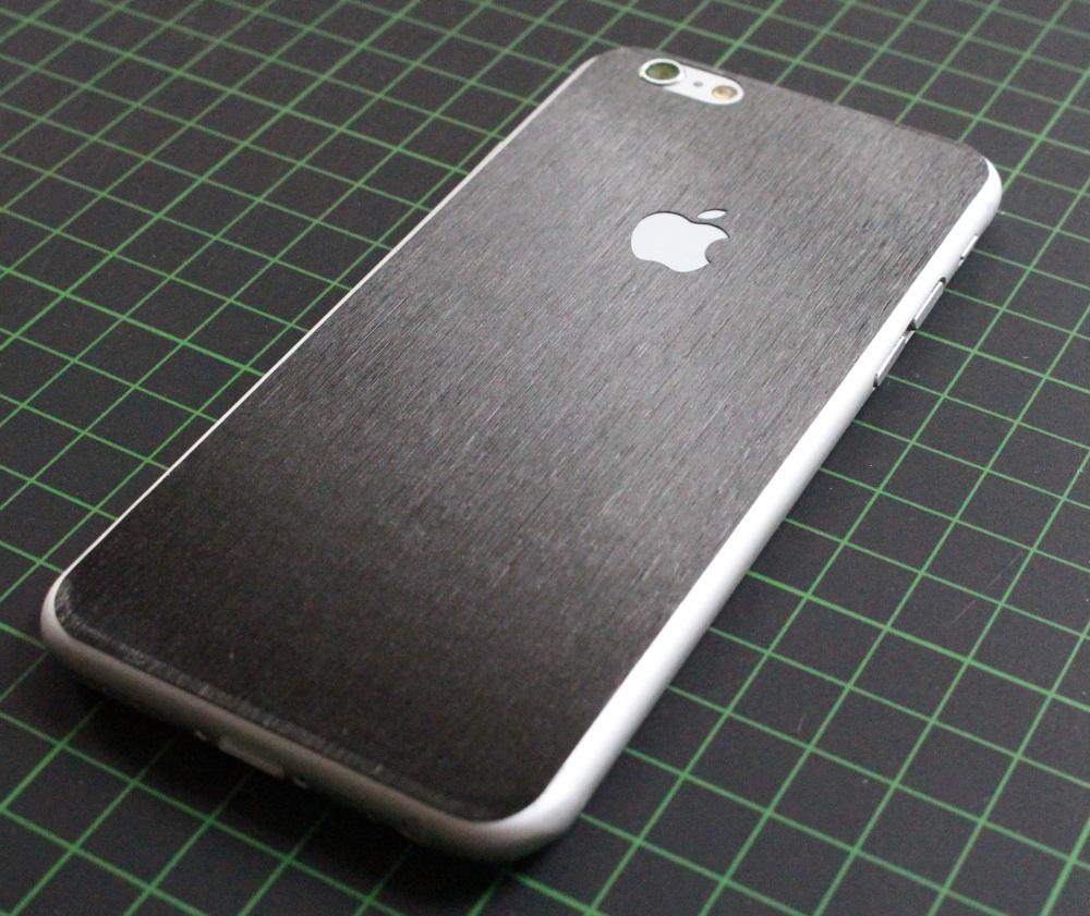 iPhone 6 / 6S / 6 Plus / 6S Plus / 7 Aufkleber / Sticker / Skin. 3D Aufkleber für die Rückseite. - Gebürsteter Stahl