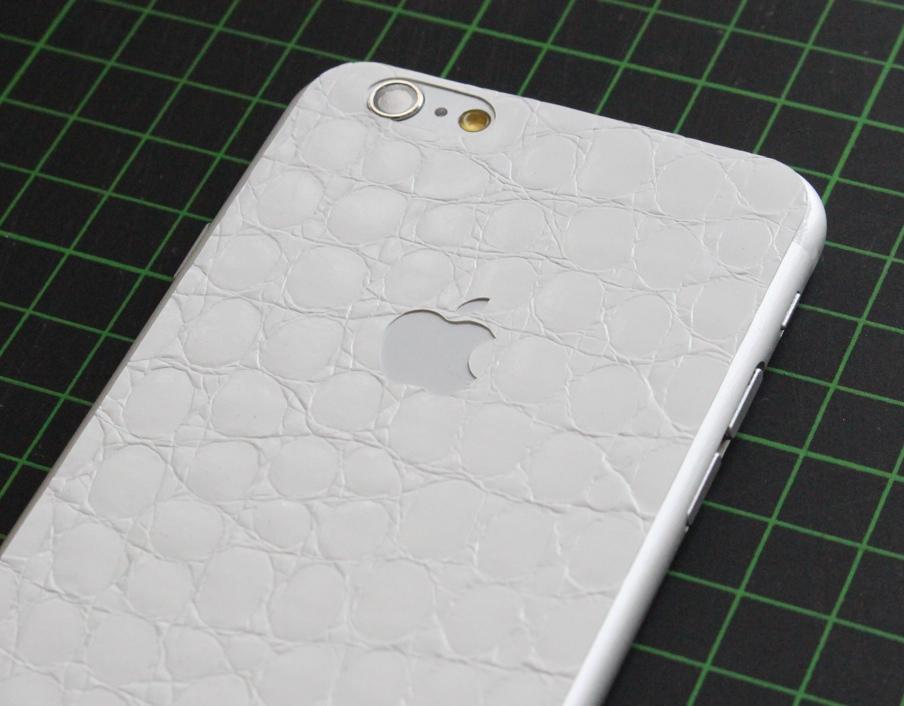 iPhone 6 / 6S / 6 Plus / 6S Plus Aufkleber / Sticker / Skin. 3D Aufkleber für die Rückseite. - Alligator weiß