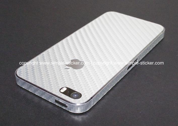 iPhone Aufkleber / Sticker 3D Struktur für iPhone 4/4S/5/5S - Carbon silber