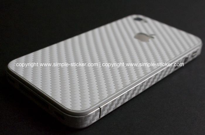 iPhone Aufkleber / Sticker 3D Struktur für iPhone 4/4S/5/5S - Carbon weiß