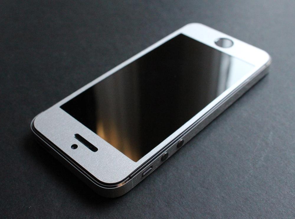 iPhone Aufkleber / Sticker 3D Struktur für iPhone 4/4S/5/5S - Gebürsteter Stahl - silber