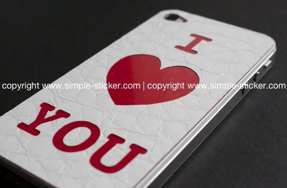 iPhone Aufkleber / Sticker 3D Struktur für iPhone 4/4S/5/5S - Valentine