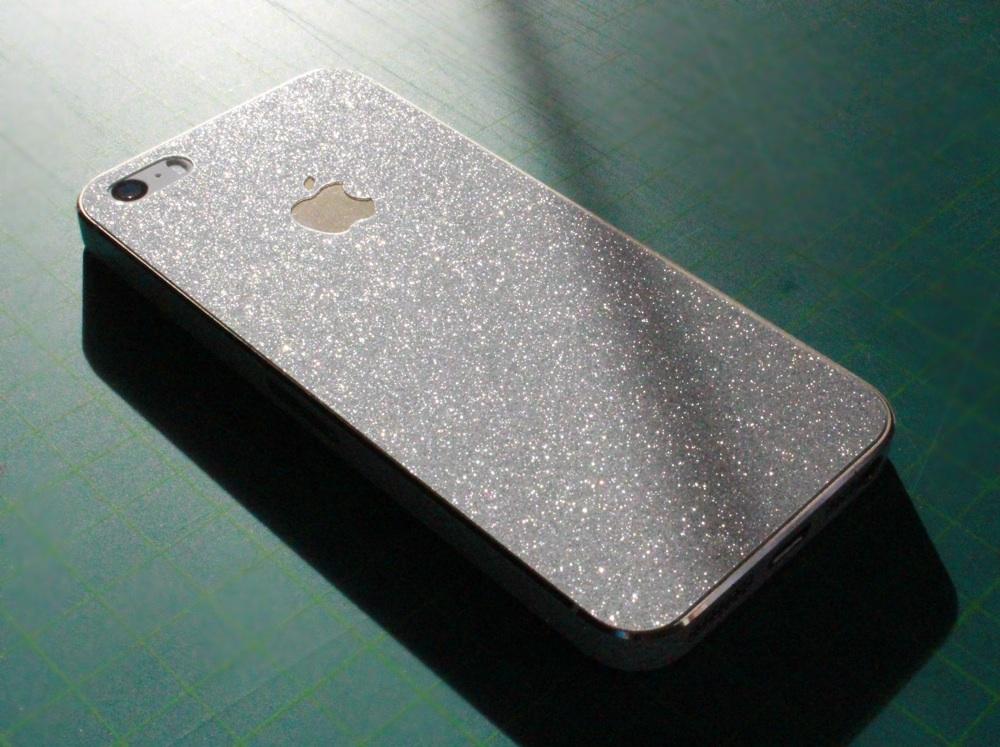 iPhone Aufkleber / Sticker 3D Struktur für iPhone 4/4S/5/5S - Weiße Glitzer